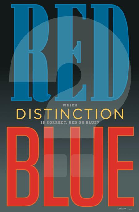 distinction red blue